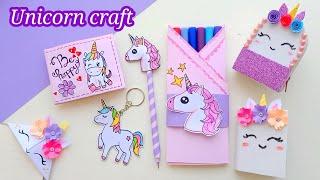 DIY Unicorn paper craft / How to make unicorn school supplies /School hacks / Back to school