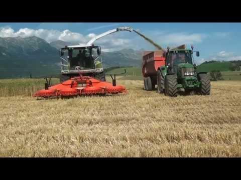 Kemper 460plus mit Claas930 bei der GPS-Ernte in les Hautes Alpes (Frankreich)