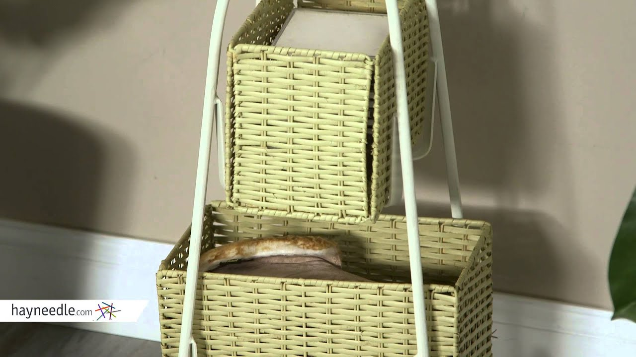 Southern Enterprises Iron Standing Coat Rack With Rattan Storage Baskets    Product Review Video