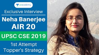 Neha Banerjee AIR 20 UPSC 2019 Topper Interview with Mrunal Patel | UPSC CSE Topper's Strategy