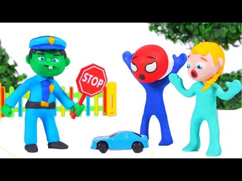 HULK POLICE STOPS REMOTE CONTROL CAR ❤ Spiderman, Hulk & Frozen Play Doh Cartoons For Kids