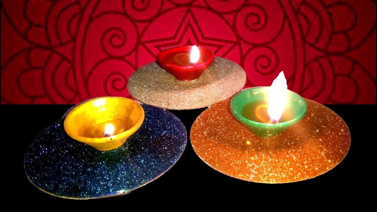 Diyas Decoration With Cd And Sparkle Diya Base Decoration Tuber Tip Youtube