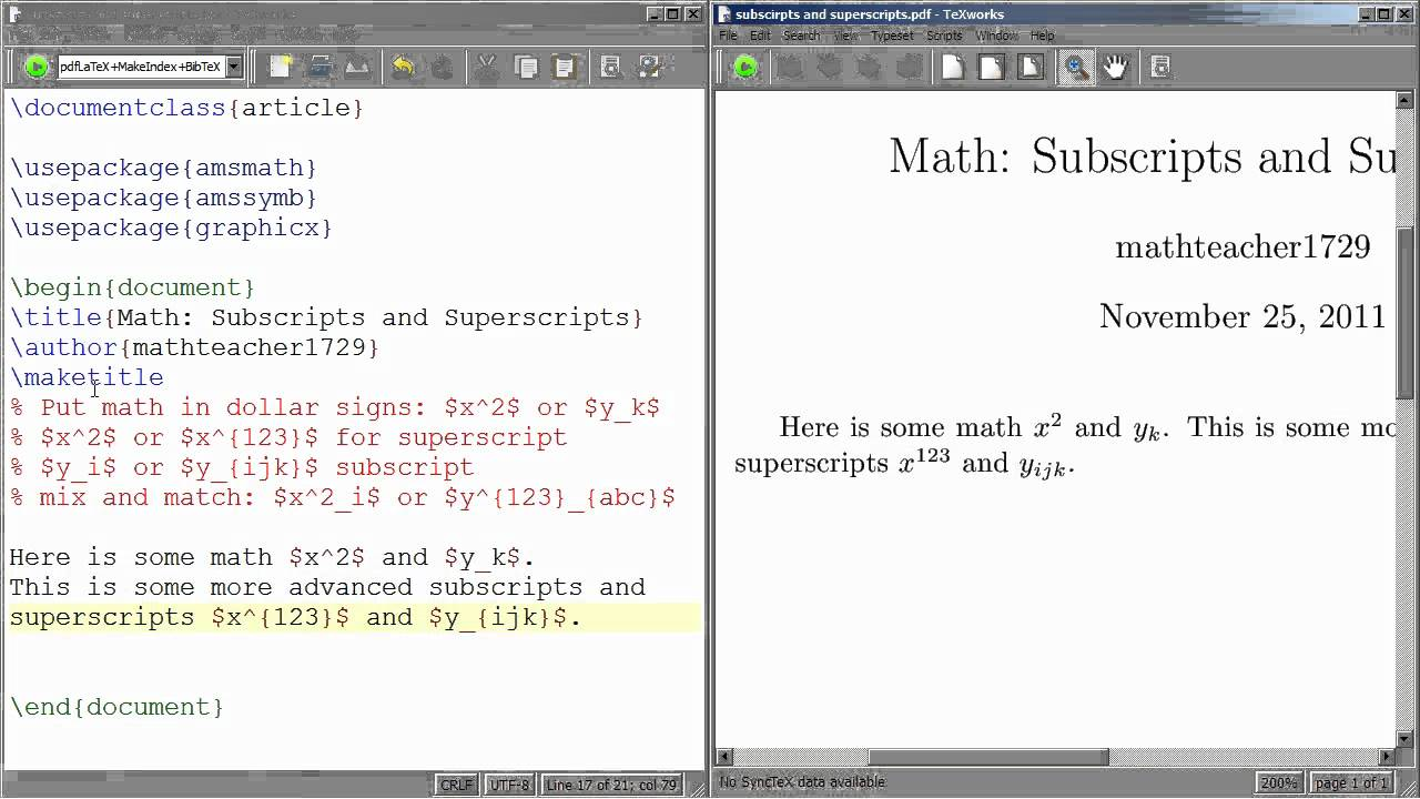 Latex Tutorial 04 Subscripts And Superscripts Youtube