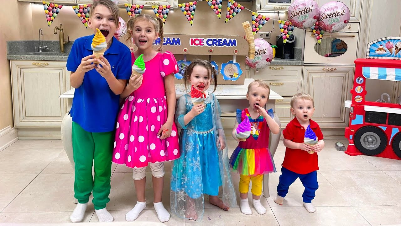 Five Kids Ice Cream Song + more Children's Songs and Videos