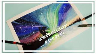 [ 손그림 그리기 ] aurora watercolor, 오로라 그리기, 오로라 수채화 ( #밤하늘그리기, #오로라그리기, #감성수채화 )