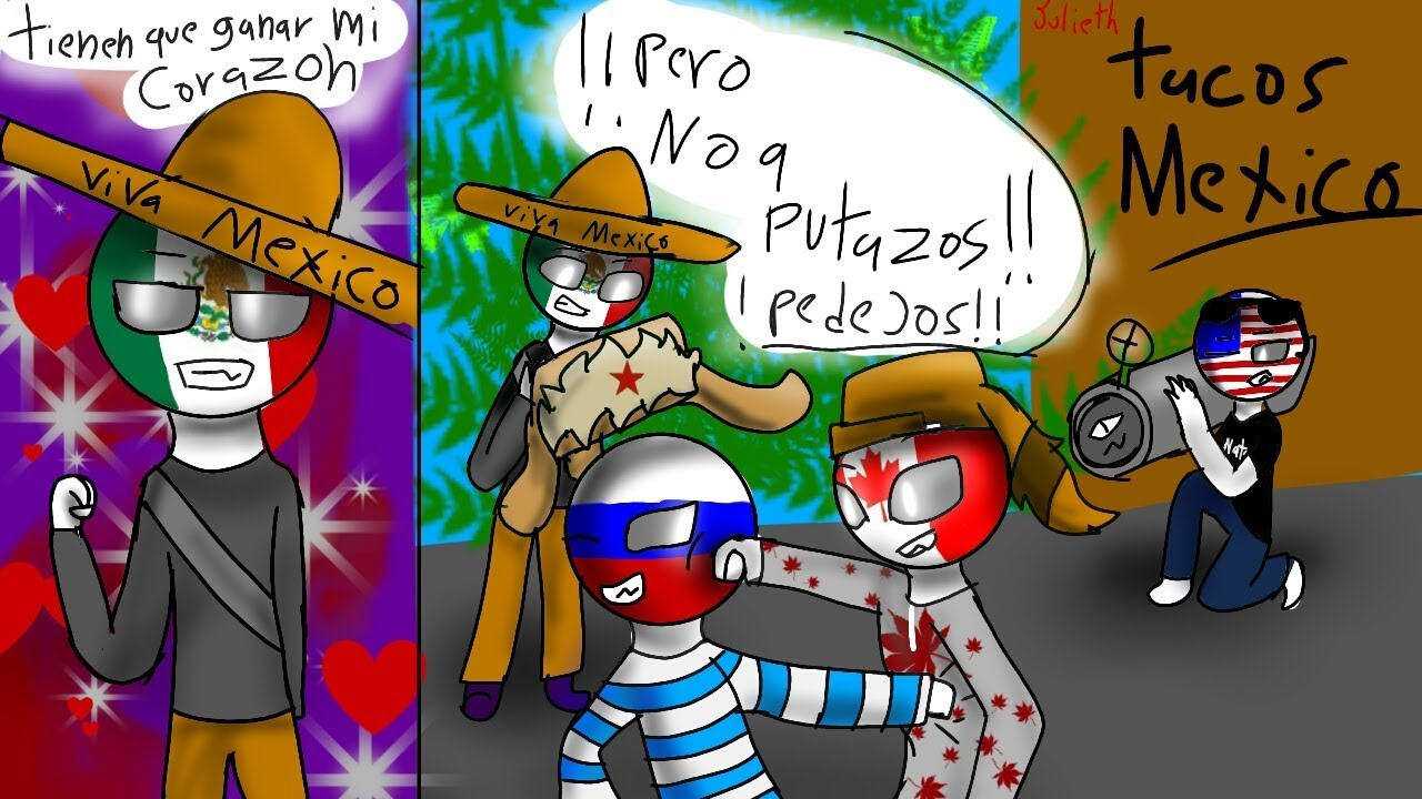 Dibujo countryhumans México x russia, usa y canada XD ...