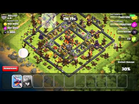 Using 300 Dragons To Attack Top Base!