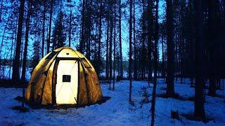 Ночь в палатке Берег УП-2 мини. Одиночный поход. Таёжная кухня. 24 часа в лесу. Печь Экономка Мини