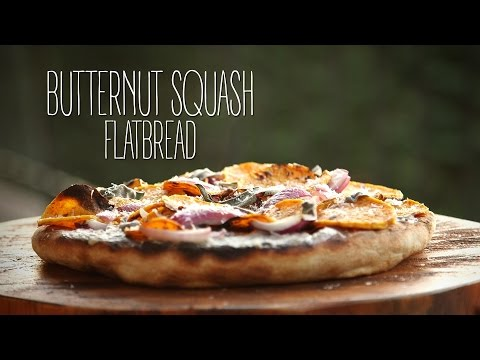 Butternut Squash Flatbread with Grilled Pear and Radicchio Salad