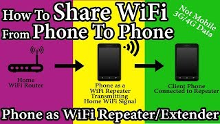 ✓ How to Share WiFi Connected Phone's Internet to other Android Phone #WiFi #Tricks