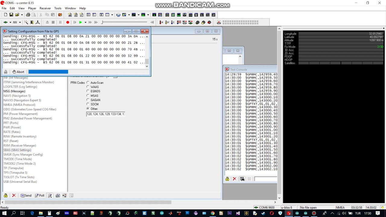 U-Center ublox neo-6m EXPORT Setting into a File