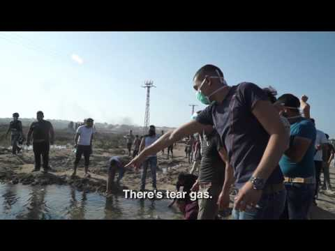 Gaza protesters drink tear gas contaminated water