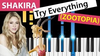 Shakira - Try Everything (Zootopia) - Piano Tutorial - How to Play