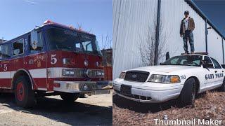 COP CAR GRAVEYARD! (ABANDONED AMBULANCES, FIRETRUCKS, SQUAD CARS, ETC!)