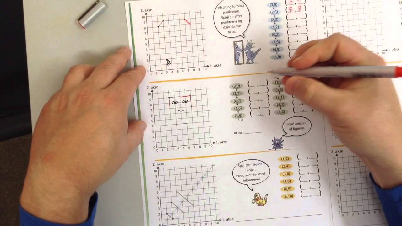 Matematrix 3a side 30, spejlingsøvelser og koordinater
