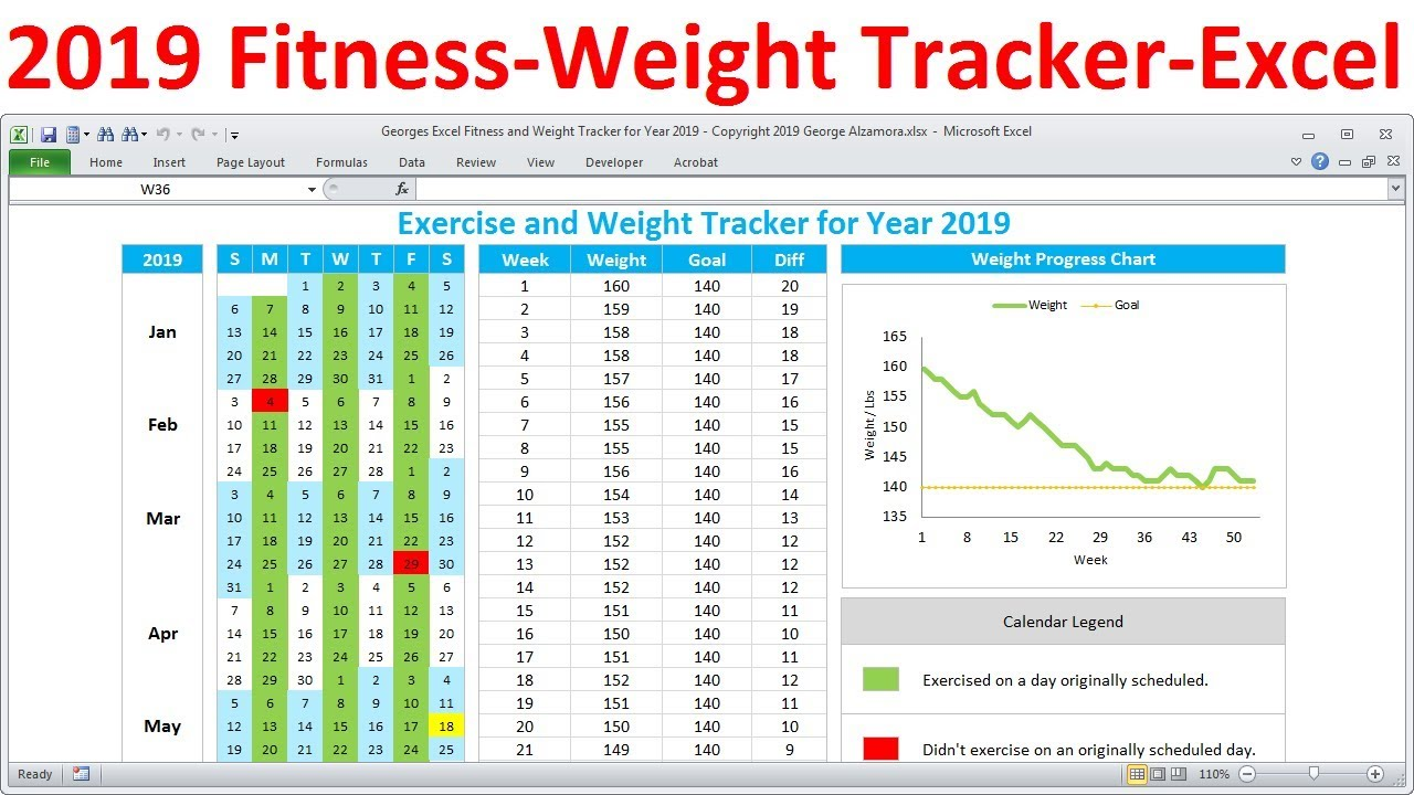 Fitness tracker and weight loss for workout planner excel template also rh youtube