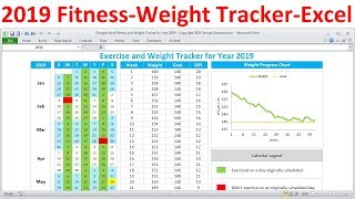 Fitness Tracker and Weight Loss Tracker for 2019 - Workout Planner Weight Tracker - Excel Template