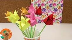 Направи си сам оригами лалета / Урок по сгъване на цветя / Лесна и бърза украса / Цветя оригами