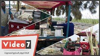 بالفيديو.. «العصارة المتنقلة».. عصير القصب بثلاث نكهات أشهرها النعناع