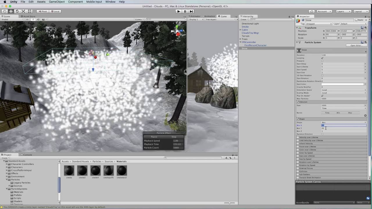Unity 5 from Scratch Part 20: Smoke and Snow Particles