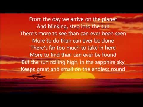 Circle of Life (w/ lyrics) From Disney's