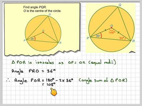 Circle theorems angle at the centre and isosceles triangle