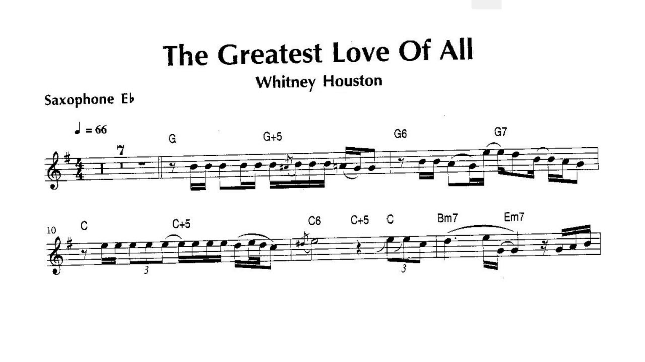 WHITNEY HOUSTON [The Greatest Love Of All] ALTO SAX