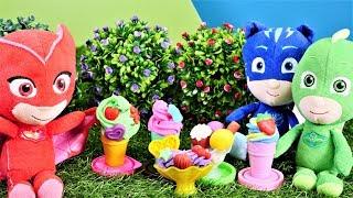 Die Pyjamahelden machen Eis aus Play Doh. Spielzeugvideo für Kinder.