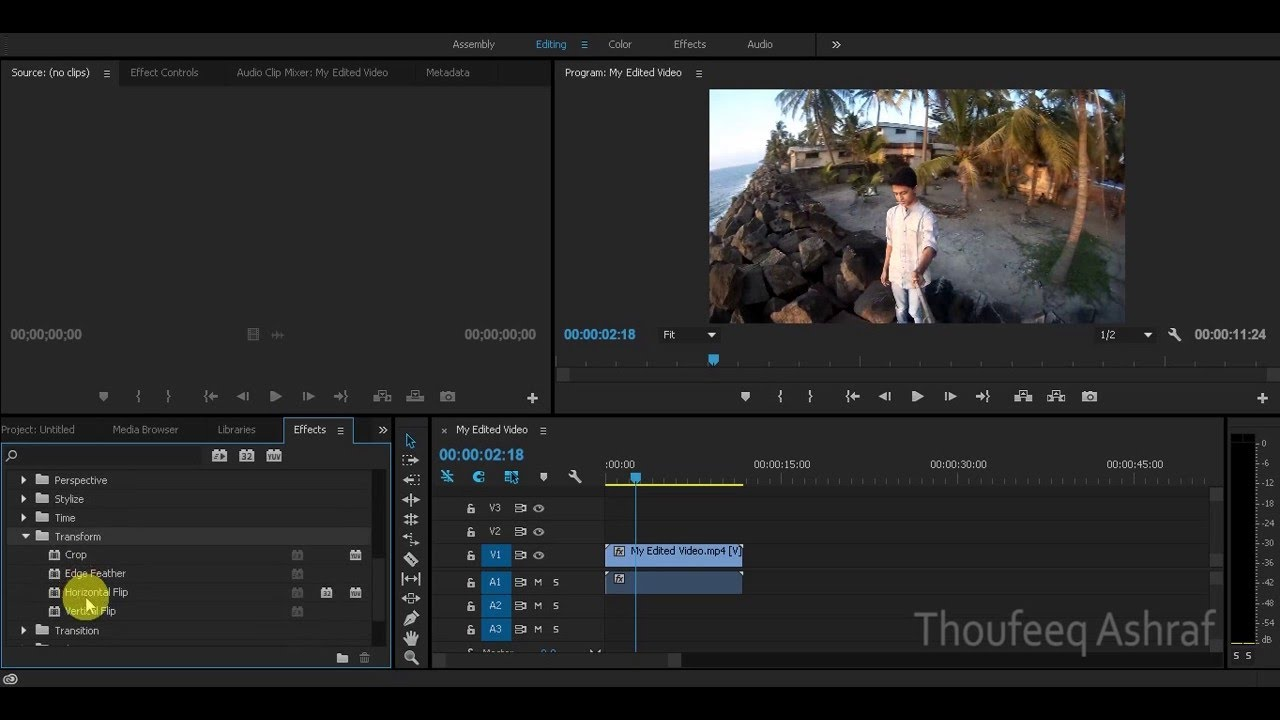 How To Horizontally Flip A Video In Adobe Premiere Pro Cc 2018 Youtube