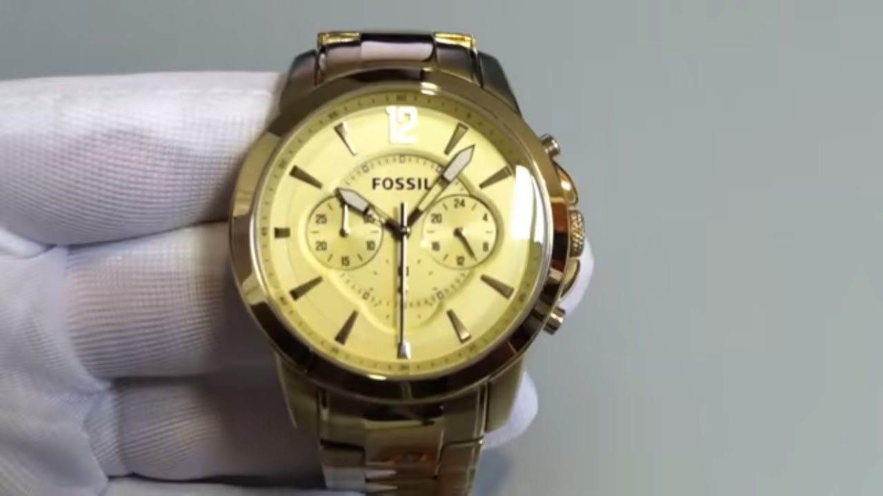men s gold tone fossil grant chronograph watch fs4724