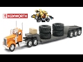 Kenworth Mighty Machines Big Truck Flat Bed Transporter, Carries Tires and Submarine Lots of Toys