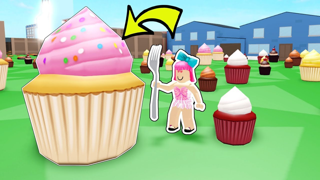 Roblox Games Cake Roblox Eating The Biggest Cupcake In Roblox Youtube