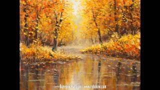 Осенняя живопись маслом: Осень на лесной реке. Холст, масло, мастихин.