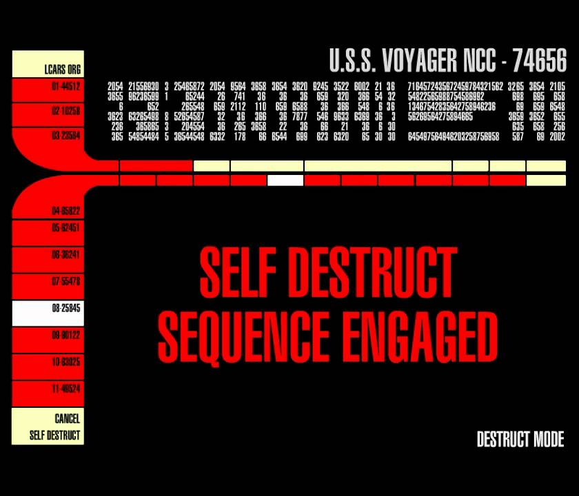 Self destruct sequence