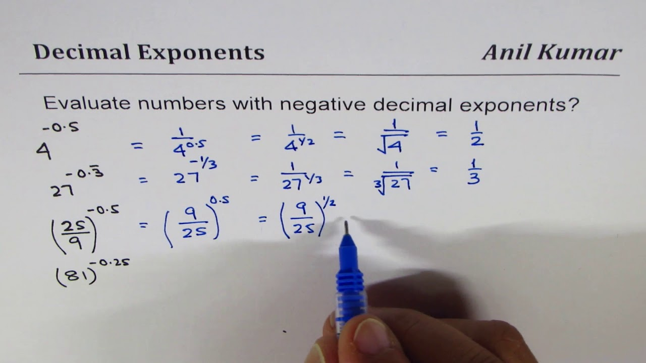 How to calculate Number Exponents with negative Decimals