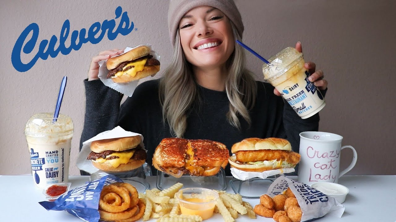 Culver's MUKBANG | ButterBurgers, Onion Rings, Cheese Curds, Pumpkin Spice Shake and more!