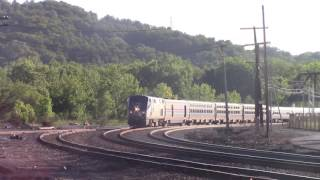 Amtrak Lake Shore Limited passing through Hudson, NY. Friendly engineer and nice horn.