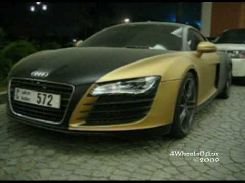 Matte Black & Gold Audi R8 - YouTube