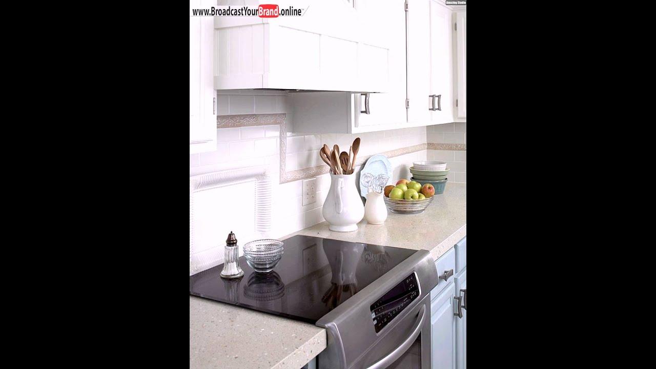 Weiße Fliesen Bordüre Kleine Küche Gestalten Ideen Schränke - YouTube