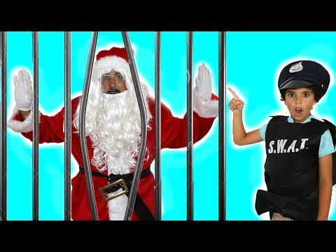 Police saved Santa Claus from prison , Kids pretend play , adel et sami