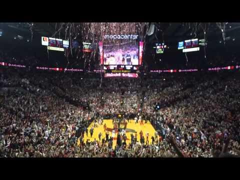 Moda Center reacts as Blazers beat Rockets in Game 4, 2014 playoffs (Rose Garden)