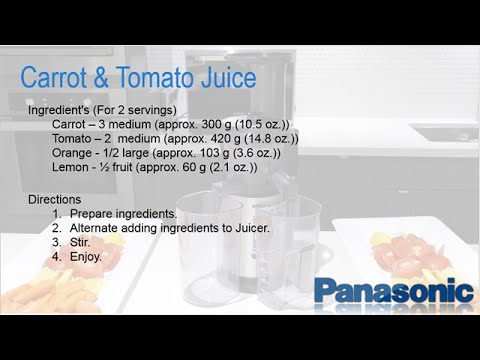 Panasonic Slow Juicer MJ-L500 - Carrot and Tomato Juice Recipe - YouTube