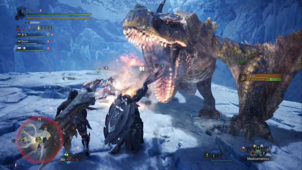 Monster hunter World Iceborn Beta - 4Coop Tigrex - YouTube