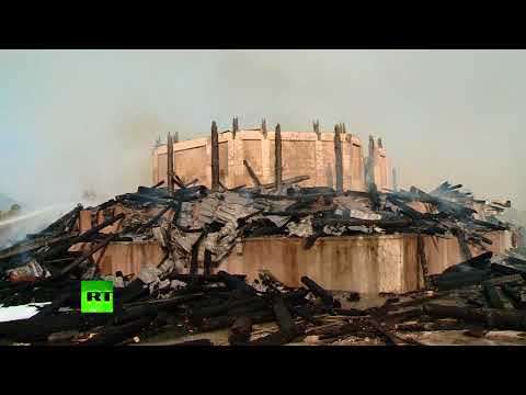 Asia's tallest wooden tower burns to ground