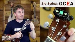How to Tune a Ukulele Using a Digital Tuner - Standard Tuning GCEA