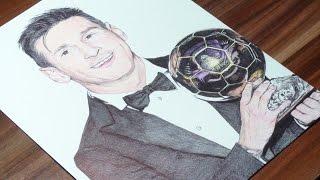Messi Pen Drawing - Ballon d'Or 2015 Winner - DeMoose Art