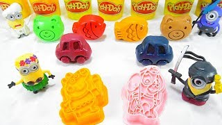 Learn Colors Play Doh Disney Cars Minion Peppa Pig Molds Surprise Toys Fun For Kids