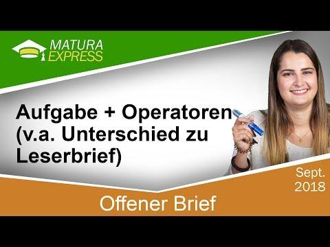 Offener Brief Aufgabe Operatoren Zentralmatura Deutsch