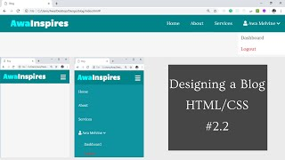 Designing a responsive Navbar with dropdown with HTML and CSS | Designing a Blog with HTML/CSS #2.2
