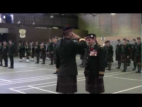 Highlanders March Out Of Armory In Cornwall Ontario To Commence Remembrance Day 2012